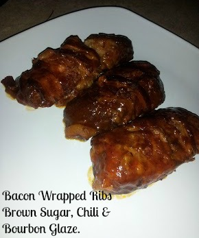 ... One: Bacon Wrapped Ribs With a Brown Sugar, Chili and Bourbon Glaze