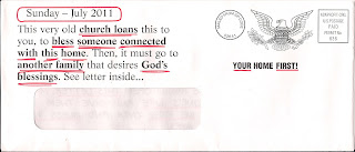 This very old church loans this to you, to bless someone connected with this home. Then, it must go to another family that desires God's blessings. See letter inside...