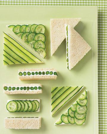 Decoración con sandwiches verdes para una boda