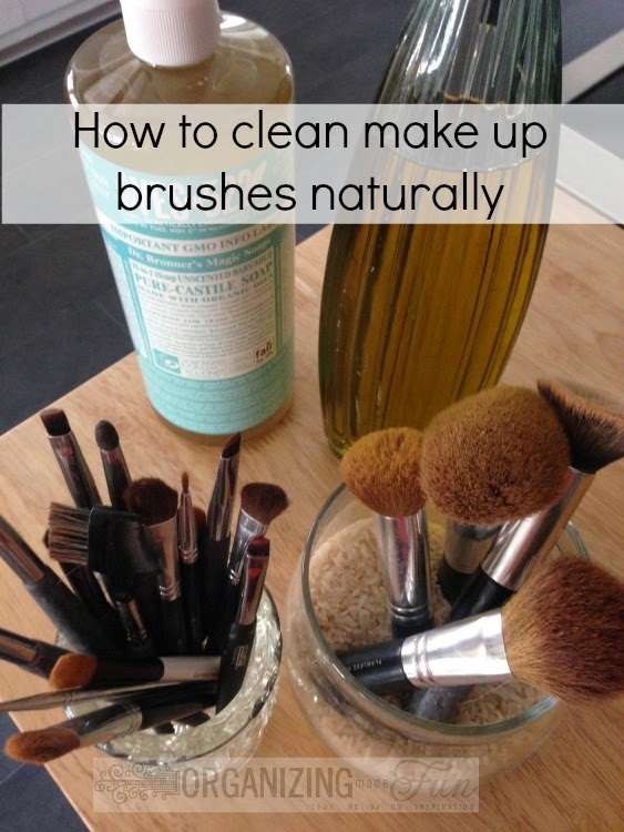How to clean make up brushes naturally :: OrganizingMadeFun.com