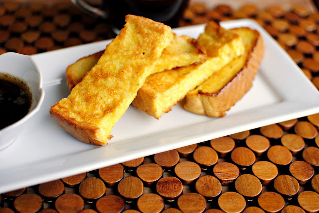 Eggnog French Toast Sticks and Brown Butter Maple Syrup l SimplyScratch.com