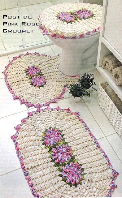 #697 Patrón de Juego de Baño tejido a Crochet