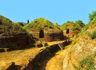 dome receivers on monolithic base, ancient Etruscan town near Cherveteri, Italy