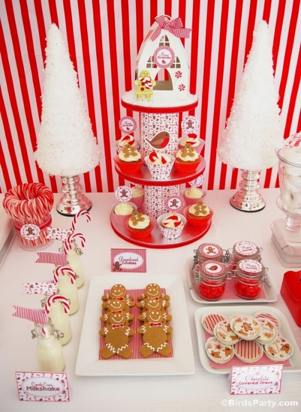 Christmas Candyland Gingerbread men and candy canes Inspired Desserts table