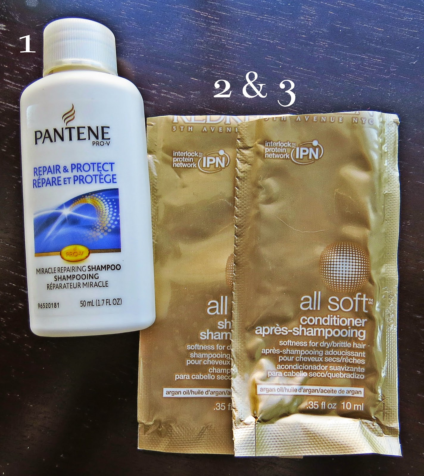 Pantene Repair & Protect Shampoo, Redken All Soft Shampoo and Conditioner