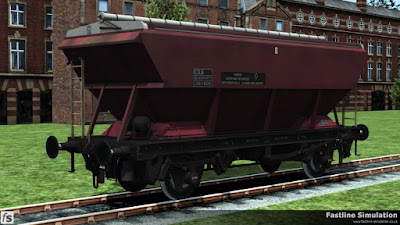 Fastline Simulation: A weathered CEA hopper in EWS maroon livery with stencil lettering and no logos.