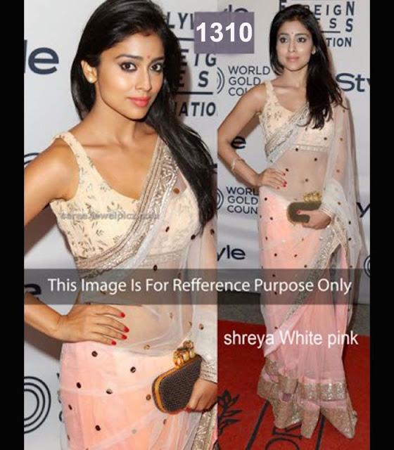 Shreya sharan white pink saree