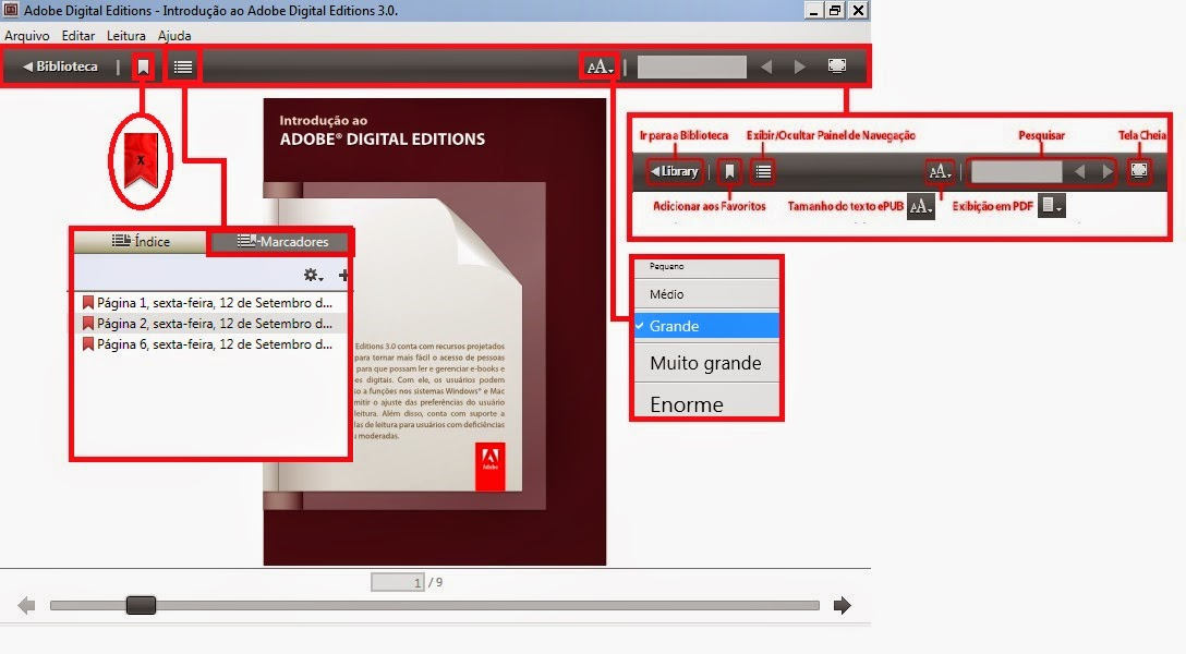 Adobe Digital Editions Marcadores
