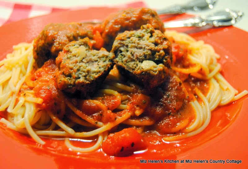 Italian Meatballs with Sauce, Meatball Center  at Miz Helen's Country Cottage