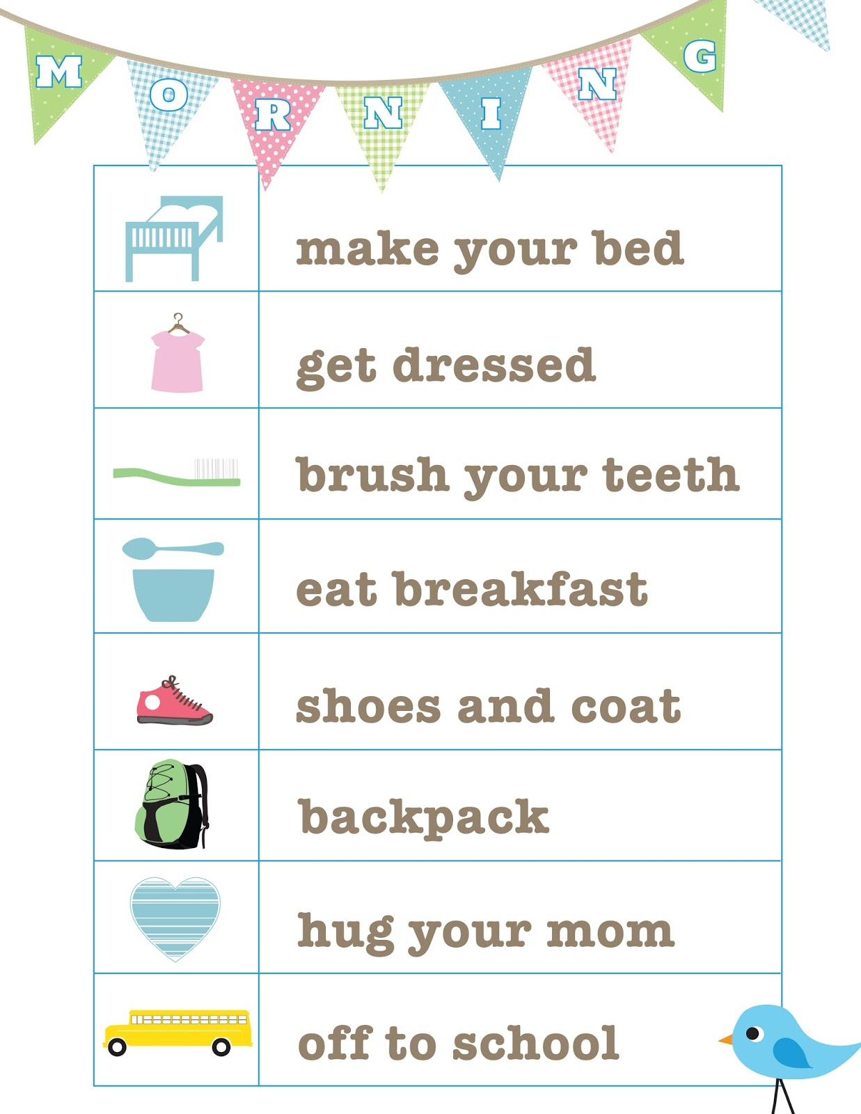 Hilaire image pertaining to morning routine printable