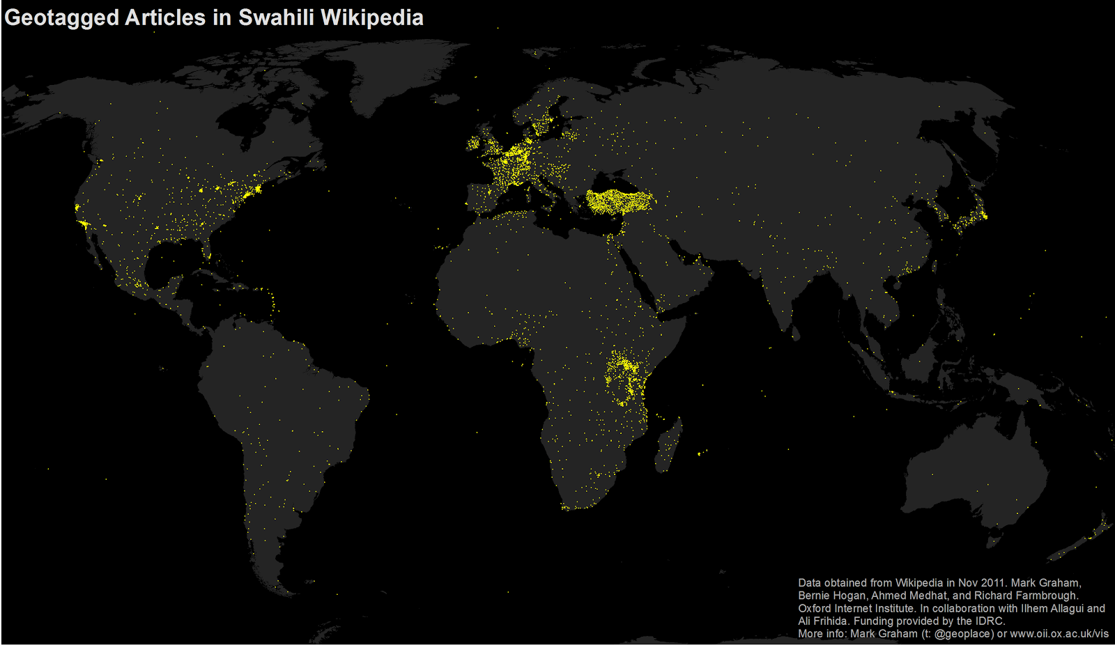 Drilling down into maps of swahili wikipedia mark graham however that map only tells part of the story all articles are treated equally and represented by bright yellow dots what if we instead shade each gumiabroncs Choice Image