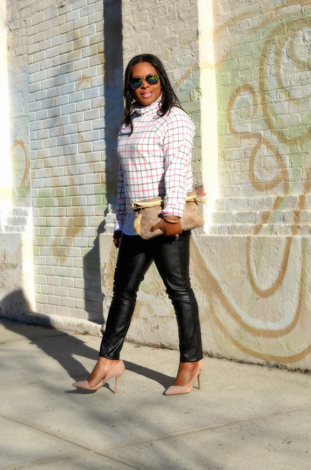 Express Pink Coat. Blank NYC Vegan Leather Skinny Jeans.Button-down.Shirt.HighNeck.MicroFleece.Top.Snakeskin.Bebe Snakeskin.Clutch.Adelia.D'orsay Nude Pumps
