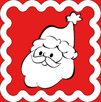 free download red christmas stamp with santa for scrapbooking or crafts or letter to santa