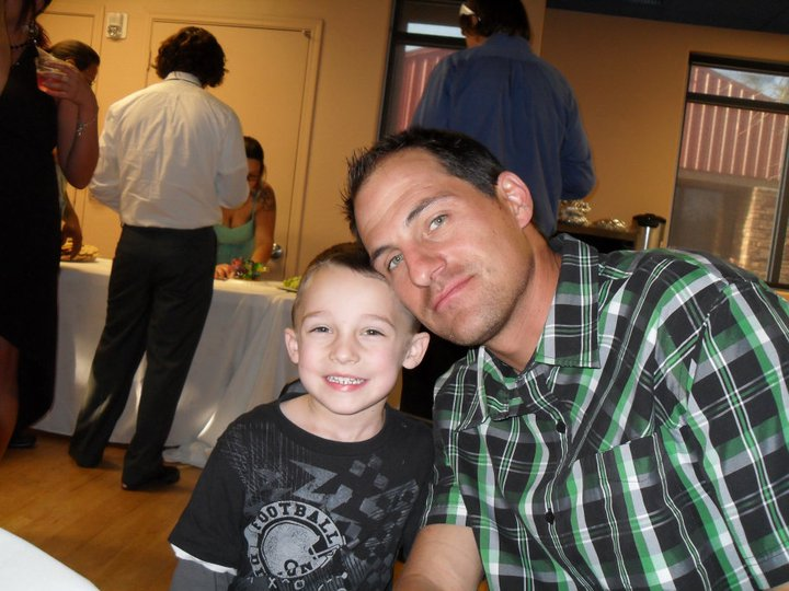 LOGAN AND DADDY AT HEATHERS WEDDING
