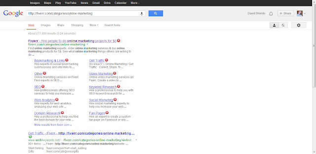 Fiverr screenshot from google search showing that it has a virus