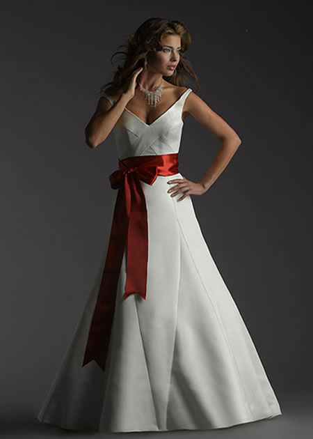 Wedding Dresses with Colored Sashes