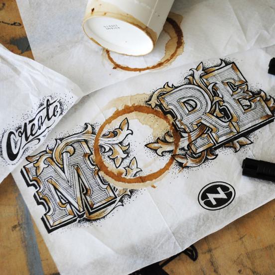 Galeri, tipografi örnekleri, tipografi sanatı, tipografi kupa sanatı, tipografi nasıl yapılır, rob draper, coffee time,