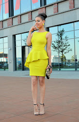 asymmetric yellow peplum dress