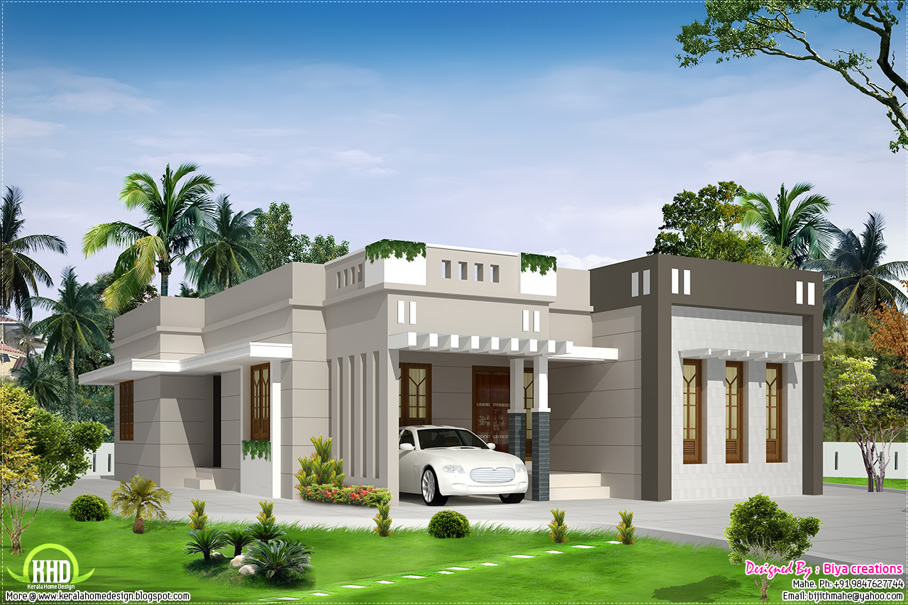 2 bedroom single storey budget house kerala home design for Single bed house plans