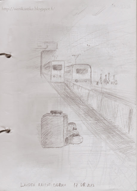 железнодорожный вокзал, чемоданы, пути, платформа, поезда, рисунок карандашом