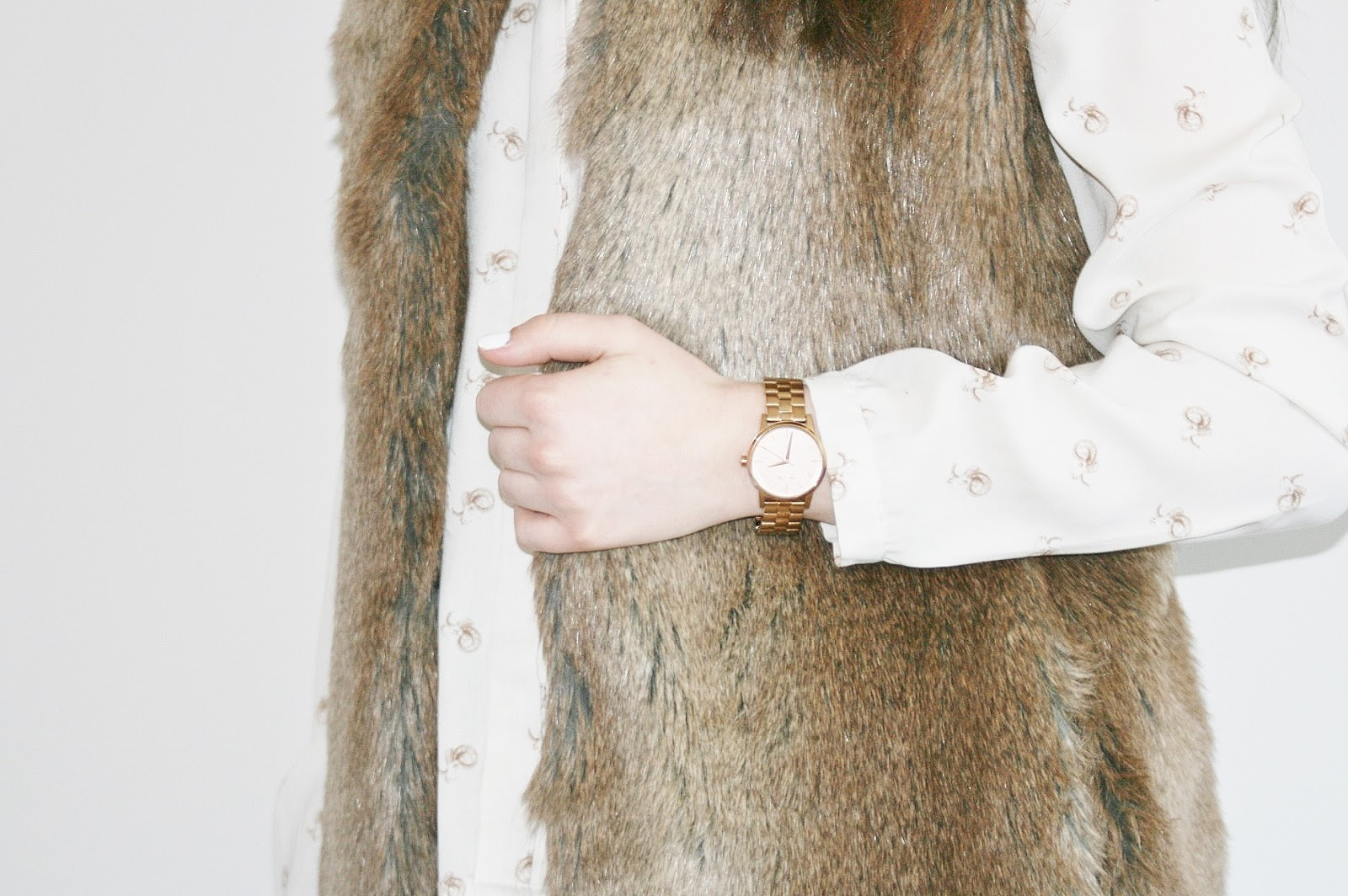 Katherine Penney Chic Style Fashion Fur Gilet Blouse Zara Print Clothes
