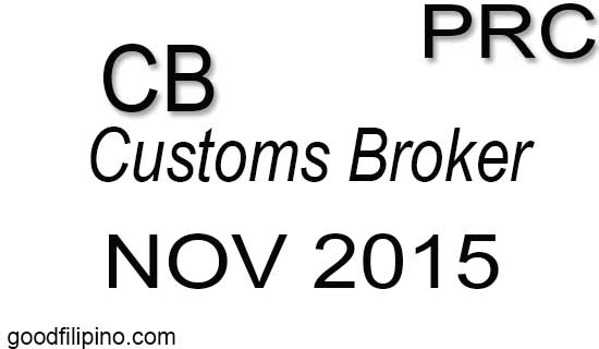 November 2015 Customs Broker PRC Board Exam Results