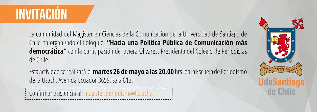"""INVITACIÓN COLOQUIO: """"Hacia una Política Pública de Comunicación más democrática"""" / Martes 26 de mayo"""