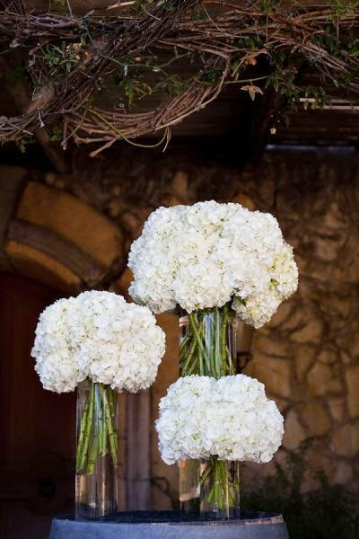 Simple Hydrangea white flower centerpieces