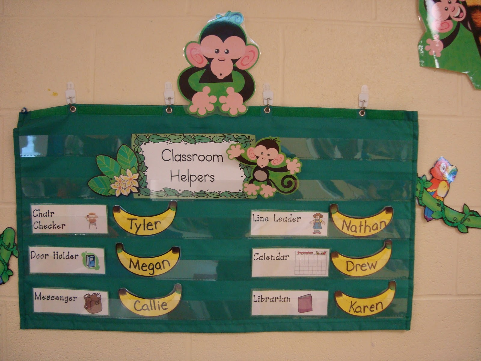 Monkey Classroom Decor ~ My first grade backpack decorating with monkeys