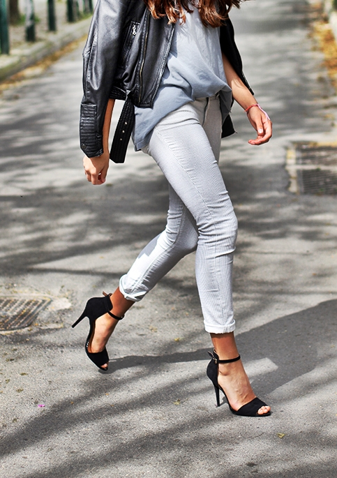 Street Style Paris Leather Jacket Monochromatic