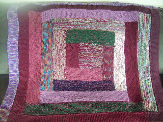 log cabin knit blanket