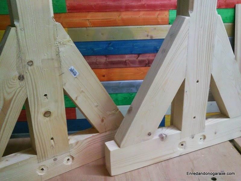 Soportes laterales para la valla de madera. Enredandonogaraxe.com