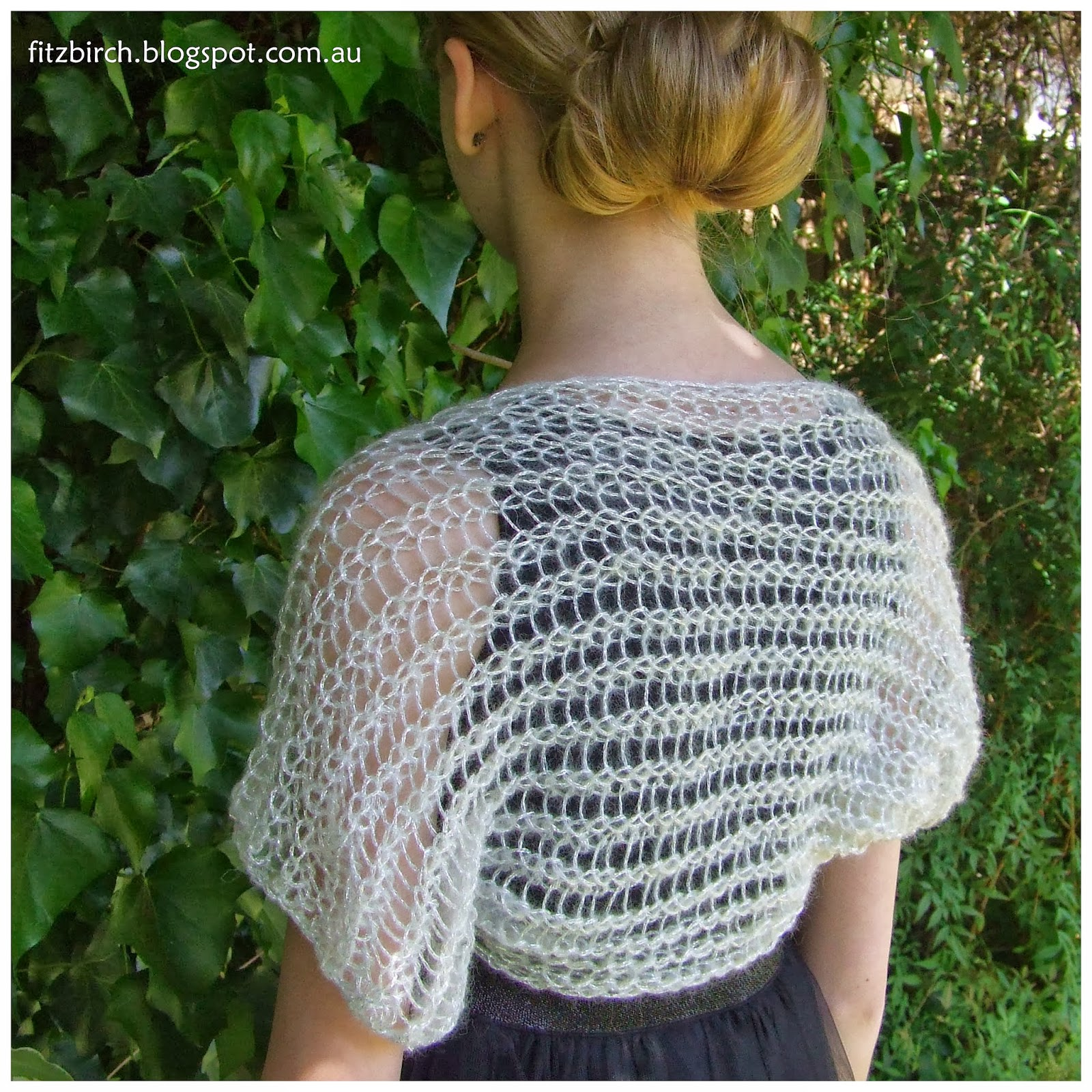 Patterns For Knitting Looms : FitzBirch Crafts: Loom Knit Shimmery Shrug