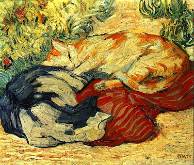 Cats on a Red Cloth Franz Marc Clip Art
