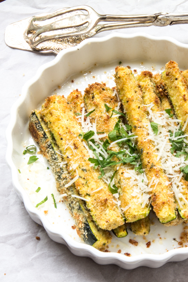 Most Viewed Recipe of the Week | Zesty Parmesan Baked Zucchini Sticks from The Wimpy Vegetarian #SecretRecipeClub #recipe #zucchini