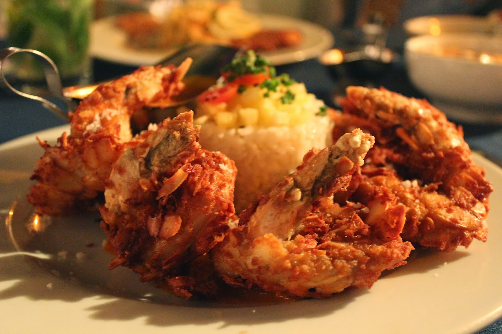 Coconut shrimp at Madame Janette, Aruba