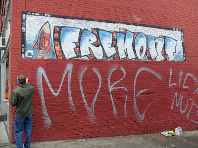 The Mural as of December 2014. Painting out tags.