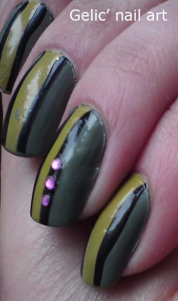 gelic' nail art military green