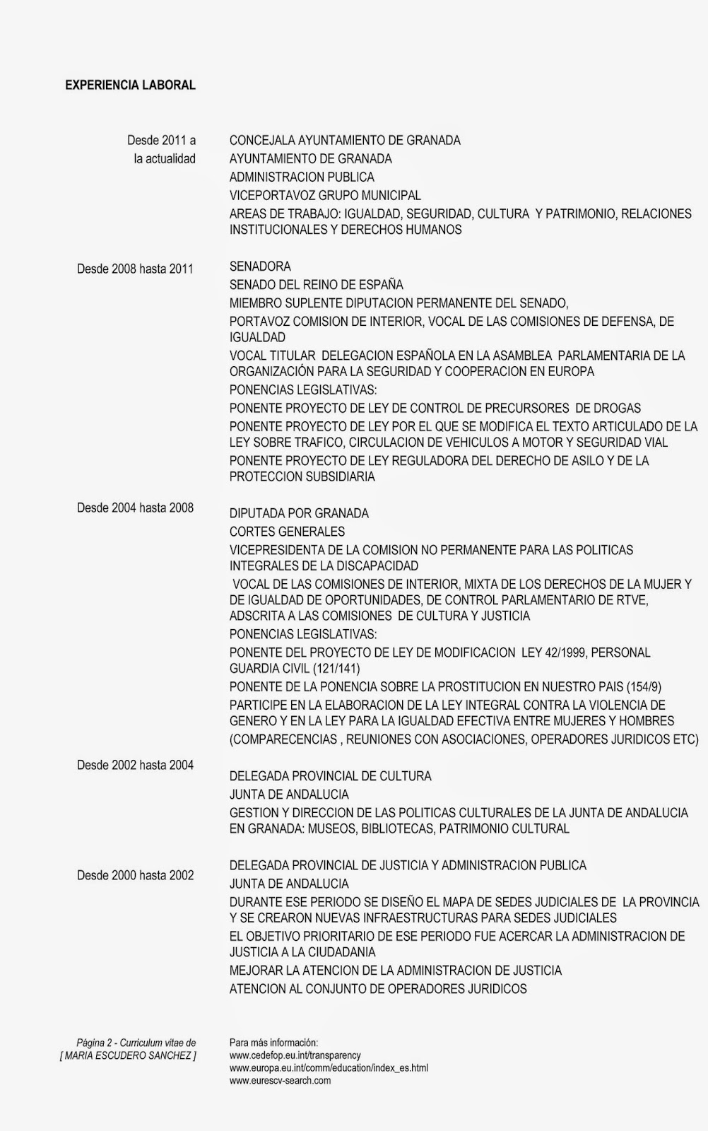 María Escudero Sánchez: Currículum Vitae