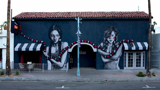 """The Mountain Charmers"" a new mural by Fin DAC and Angelina Christina on the streets of Palm Springs, USA. 1"