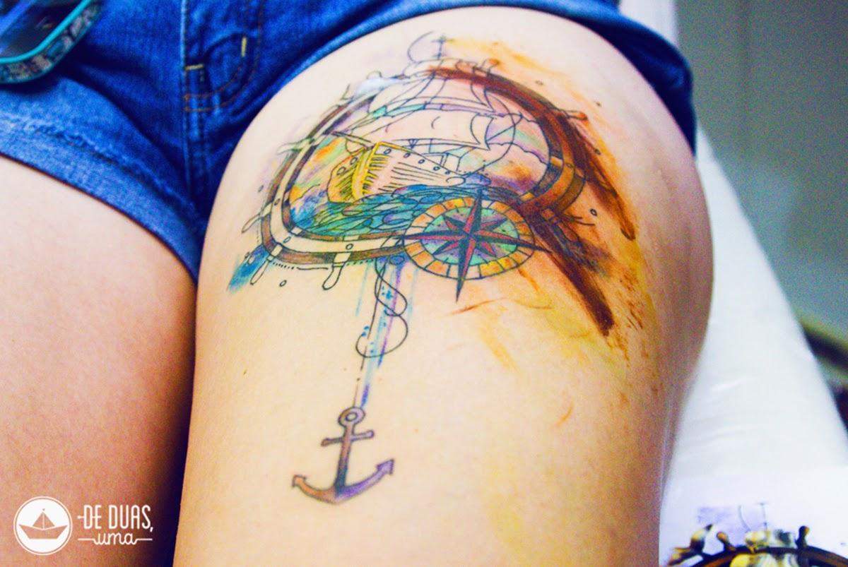 caravel tattoo watercolor design de duas uma