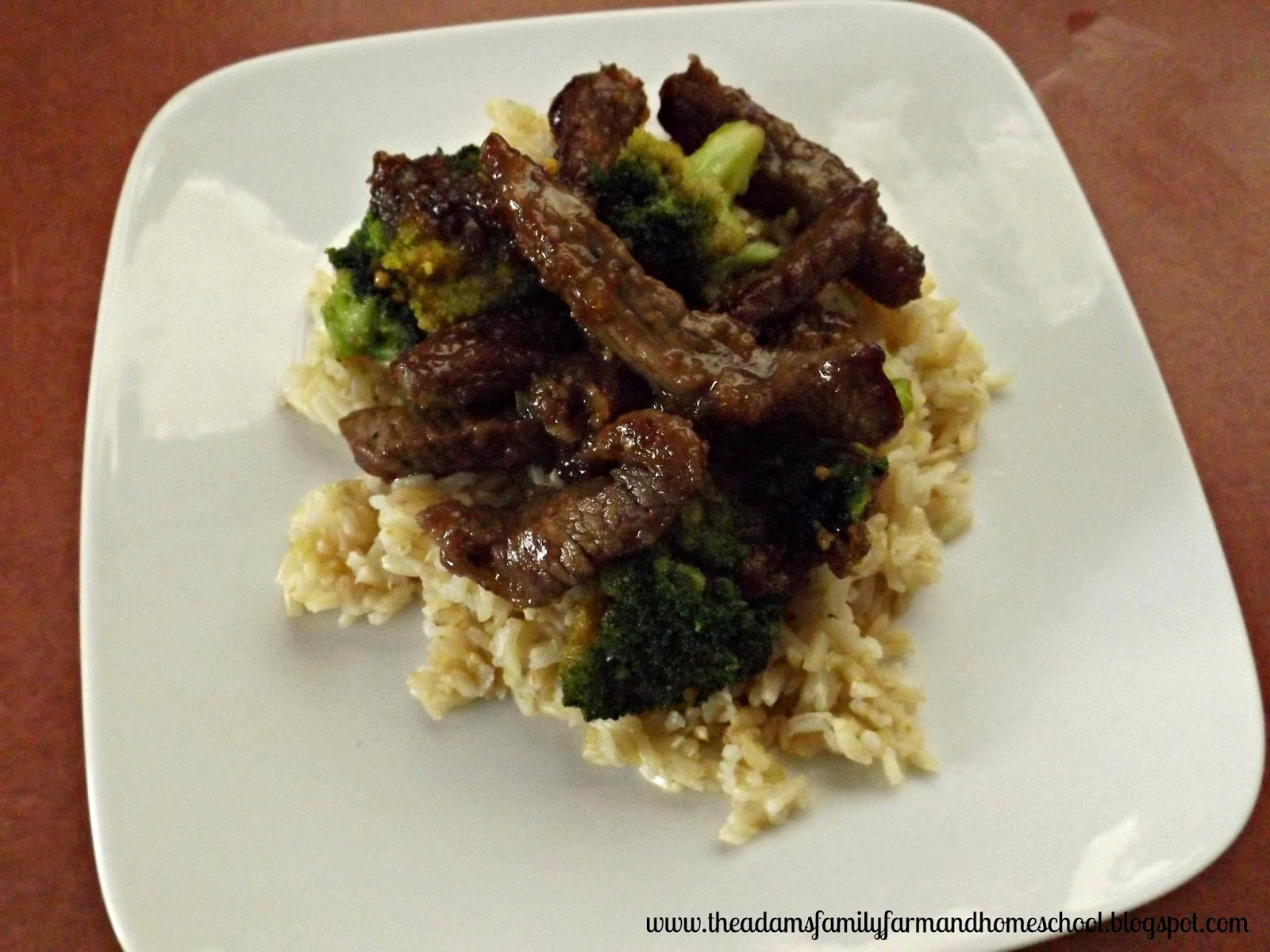 Mongolian Beef and Broccoli Steak Served Over Rice