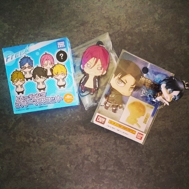 rin matsuoka keychain, official, free iwatobi merchandise, rivaille, attack on titan, sticker