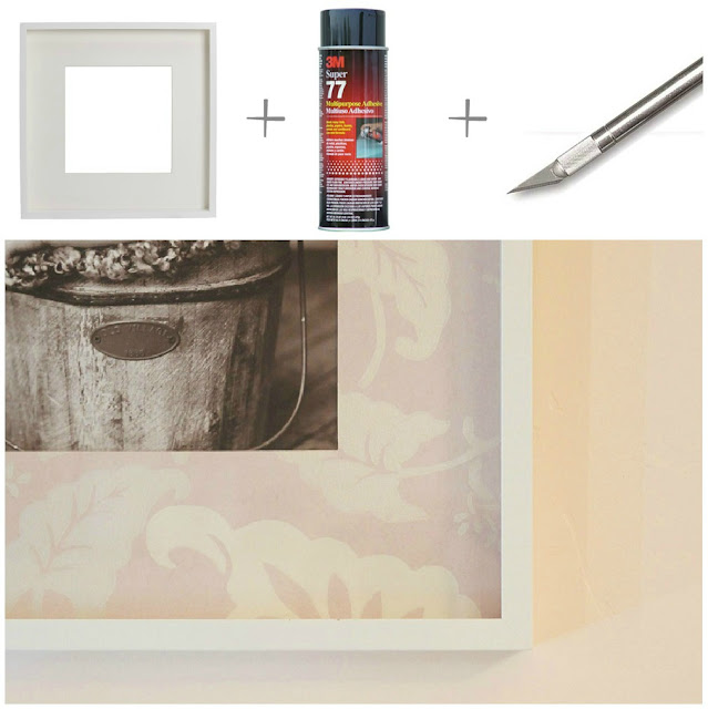 DIY How to Cover Mat in Left Over Wallpaper Ikea Ribba Frame 3M Super 77 Xacto Knife