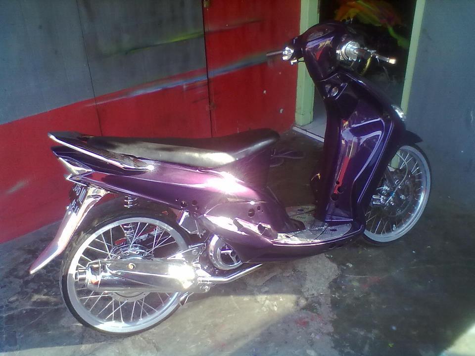 modifikasi motor mio warna ungu  paling bagus