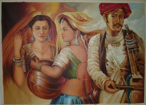 Rajasthani Girls Art Paintings 6