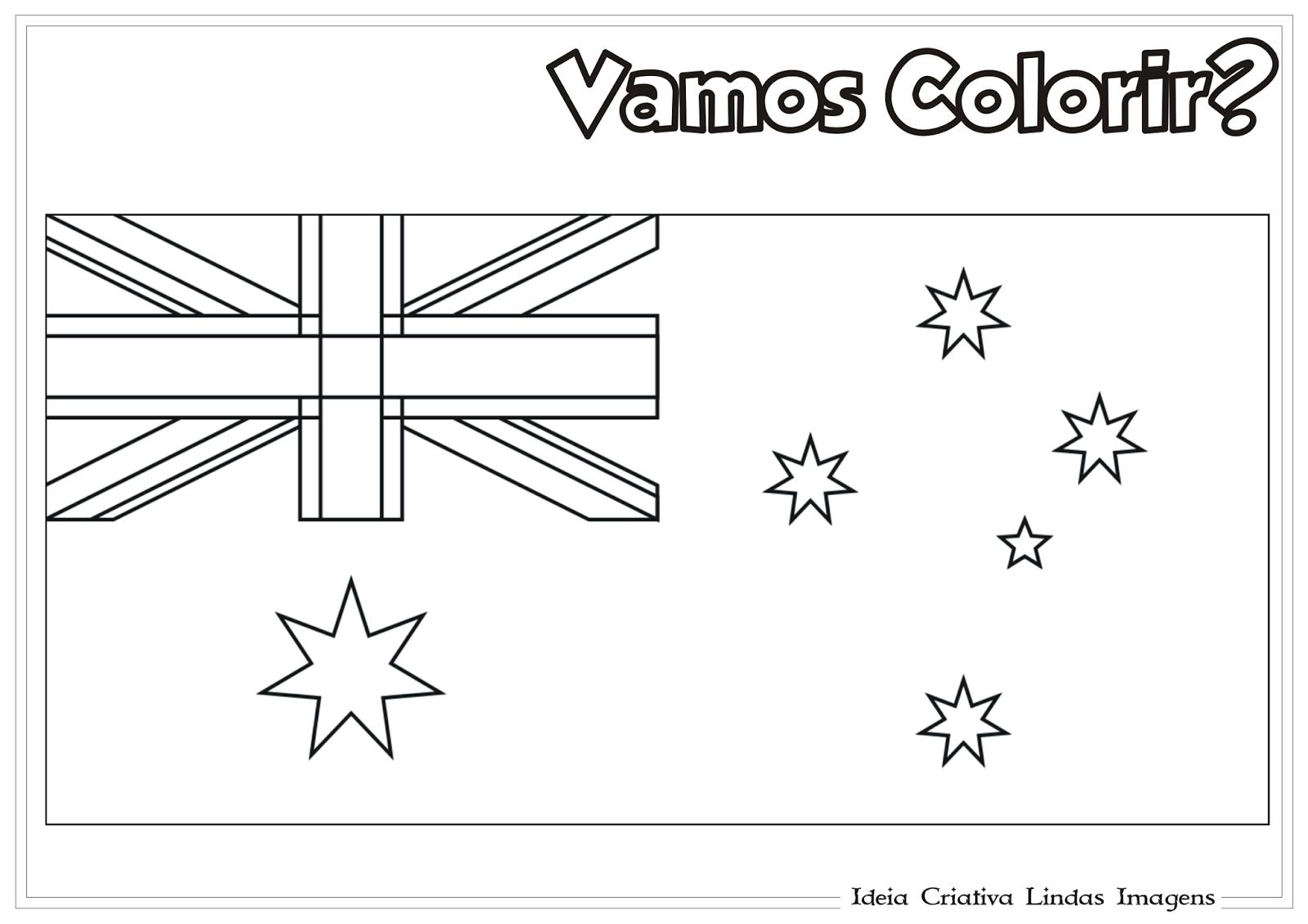 Copa do Mundo 2014 - Grupo B: Bandeira da Austrália pra colorir