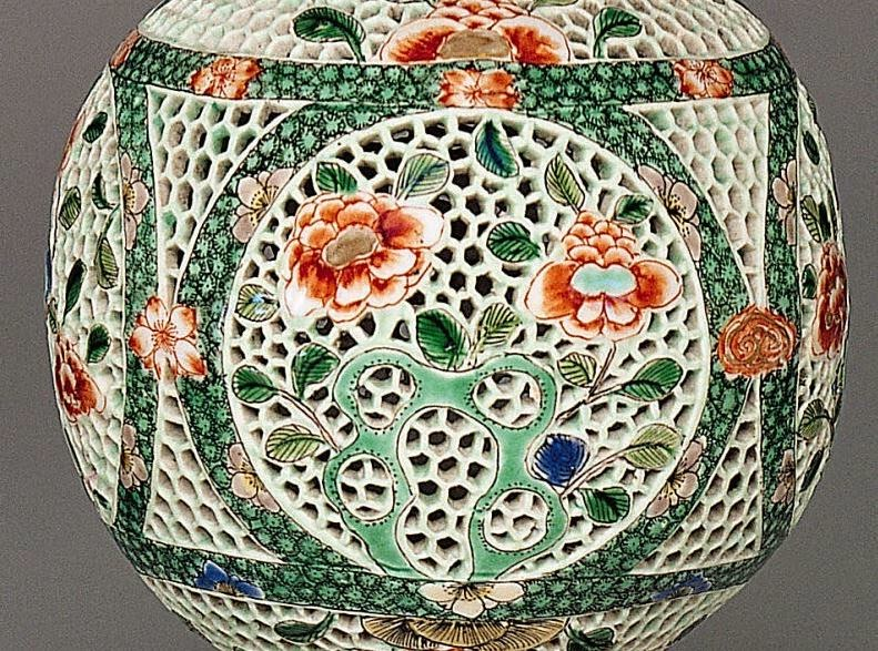 "<img src=""Kangxi Reticulated Perfume ball detail .jpg"" alt="" Famille Verte on Biscuit"">"