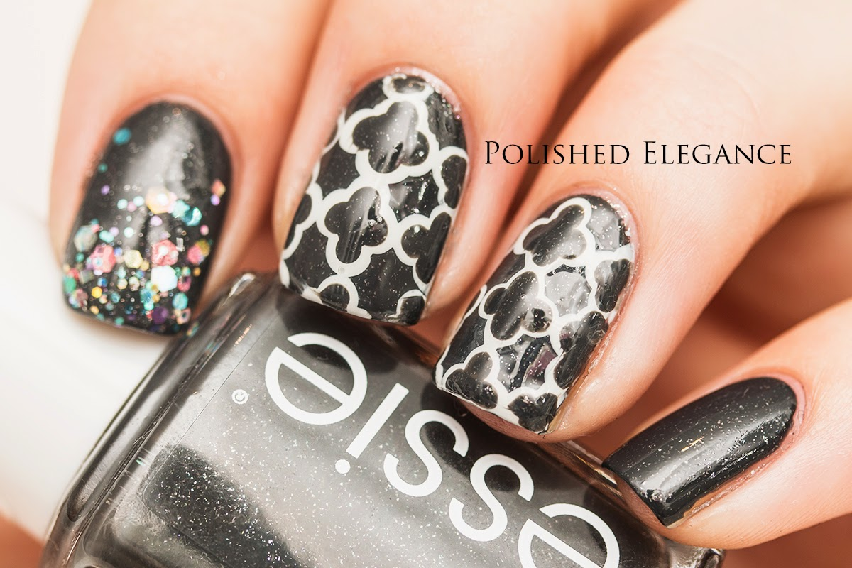 Quatrefoil nail art manicure Essie - Cashmere Bathrome gray and white quatrefoil nail art manicure design Cirque - XX glitter gradient