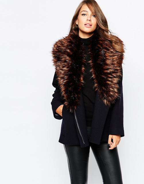 large fur collar on coat, french connection fur collar coat,
